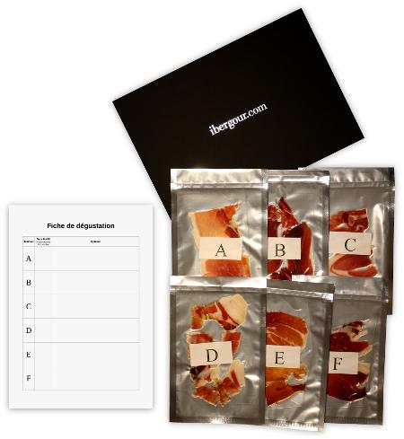 Image des sachets sous vide des échantillons de jambon étiquétés de A a F et de la fiche de dégustation