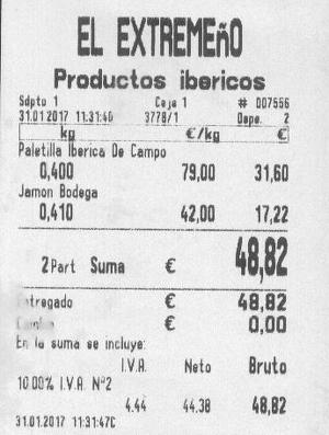 Ticket d'achat du jambon serrano et de l'épaule ibérique de cebo