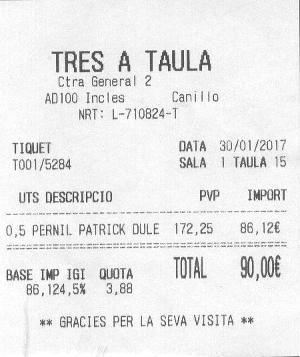 Ticket d'achat du jambon Domaine de Saint-Géry