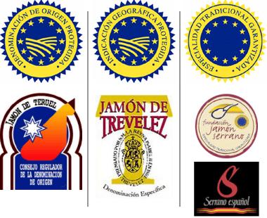 Identifiants et timbres des différents types de jambon serrano